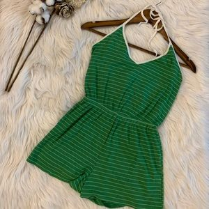 Striped Ribbed Halter Romper